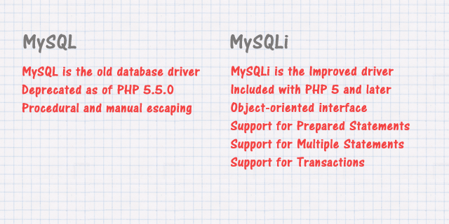 difference between MySQL and MySQLi