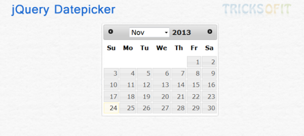 jQuery Datepicker with Simple Example