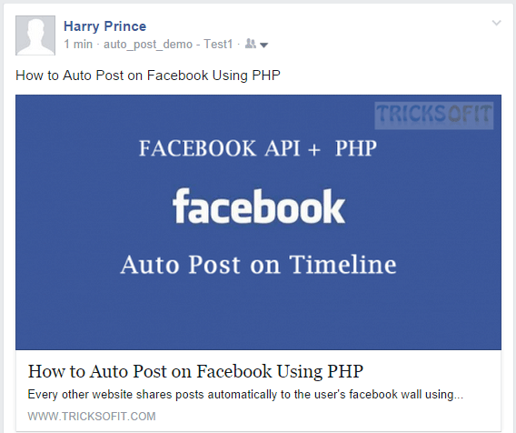facebook app auto post example