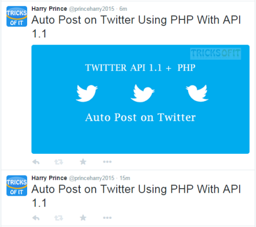 example of auto post on twitter using PHP