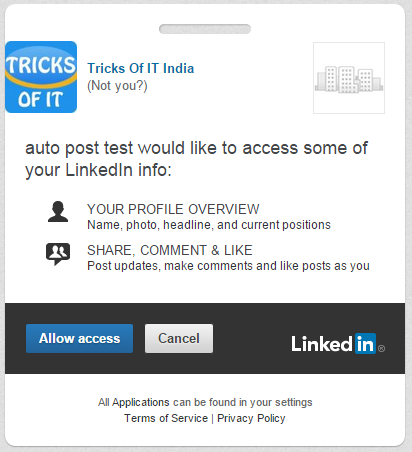 allow access for linkedin