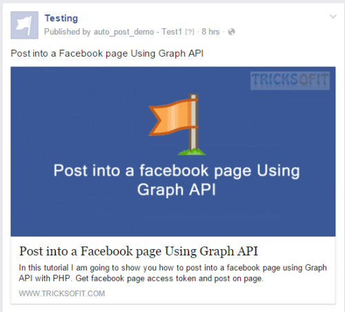 post on facebook page using graph API